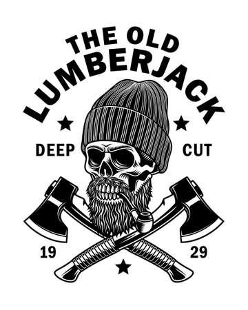 Bearded Lumberjack Skull With Crossed Axes Vector Illustration