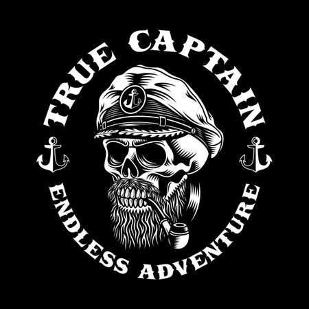 Bearded Sea Captain Skull With Smoking Pipe Vector Illustration