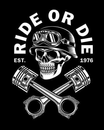 Vintage Biker Skull With Crossed Pistons Vector Illustration