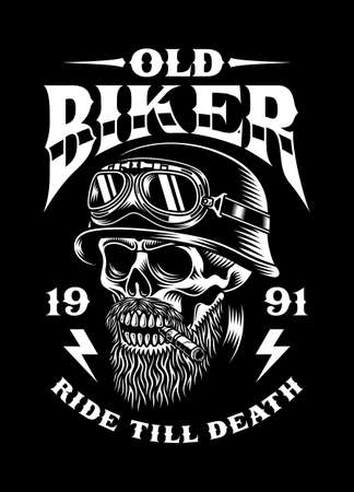 Vintage Bearded Biker Skull Smoking Cigar Vector Illustration