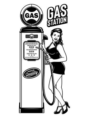 Vintage Pin Up Girl Gas Station Vector Illustration