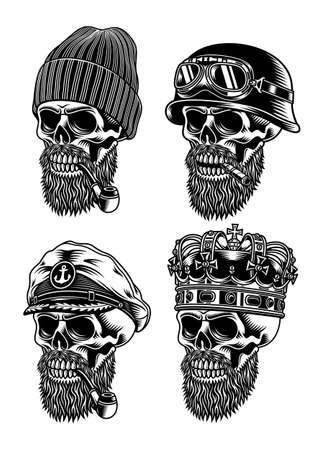 Bearded Skull Characters Collection Vector Illustration Ilustração