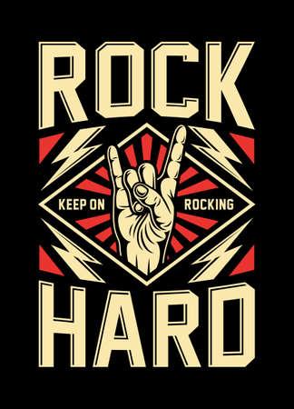 Rock On Hand Sign Vector Illustration Ilustração