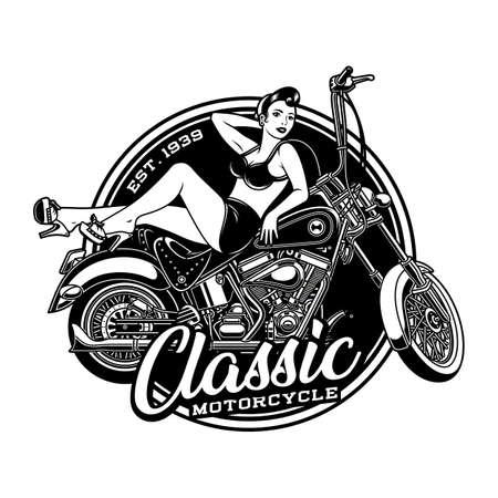 Vintage Pin Up Girl on Motorcycle Vector Illustration Ilustração