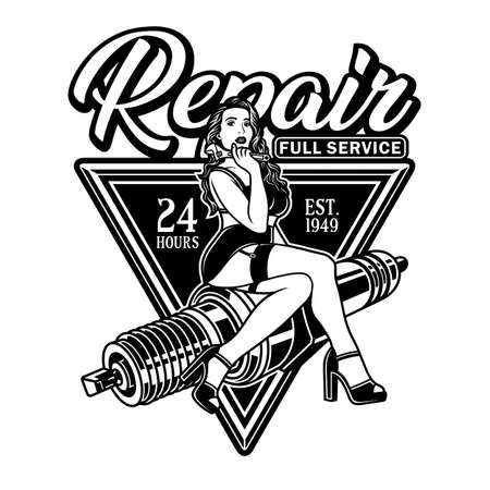 Spark Plug Pin Up Girl Hold Wrench Vector Illustration