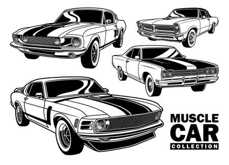 Vintage Muscle Car Collection Vector Illustration