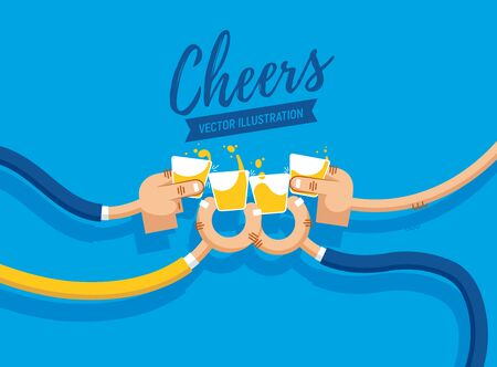 Vector illustration of drinking shots and whiskey, cheers, clinking glasses, party, four hands in flat design. Drink with friends. Four shot glasses Иллюстрация