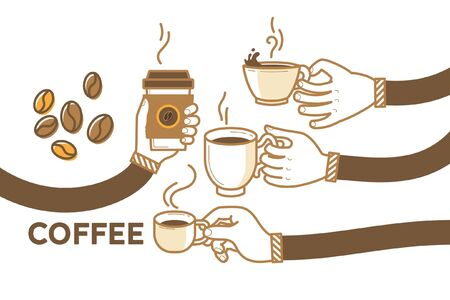 Drink coffee with friends vector illustration. Brew, cappuccino, espresso, beans. Have a break with a cup of hot coffee. Flat retro style. Enjoy your free time. Good morning.