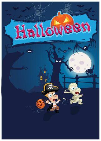 Halloween vector illustration with two running kids afraid of darkness, pumpkin