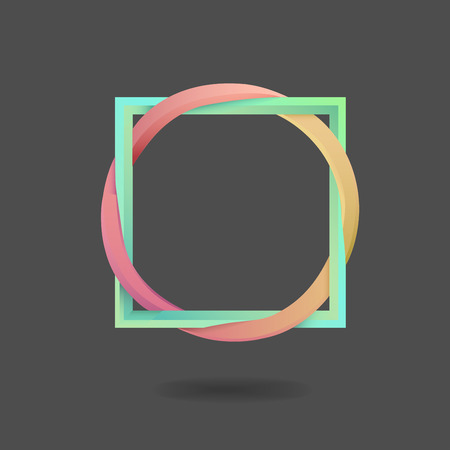 Digitally generated Interlocking square and circle on black
