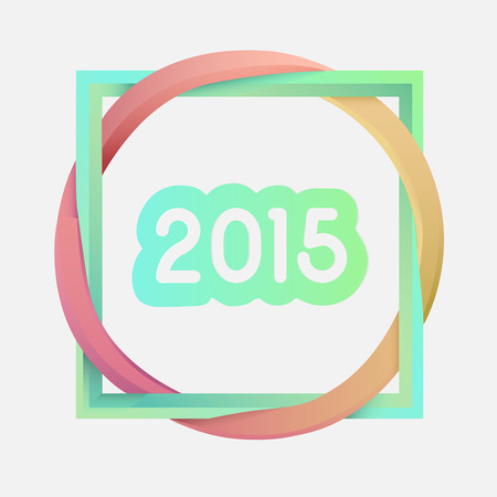 linking: Digitally generated Interlocking square and circle with 2015