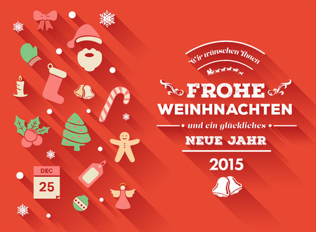 frohe: Digitally generated Frohe weihnachten message with christmas icons Illustration