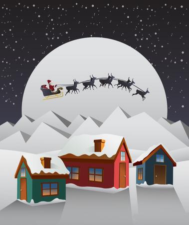 tableau: Digitally generated Santa flying over cute snowy village vector