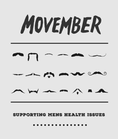 Digitally generated Movember advertisement vector with text and graphic