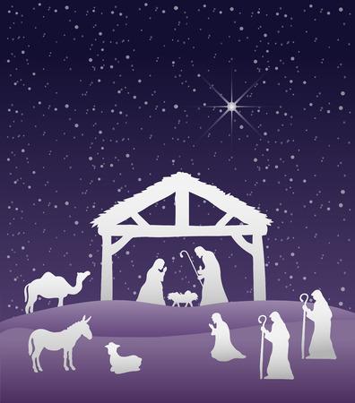 Digitaal gegenereerde Kerststal vector onder de sterrenhemel
