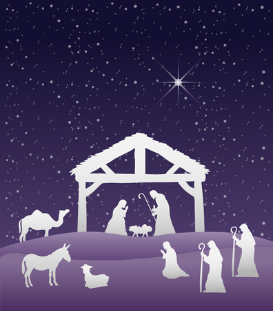 manger: Digitally generated Nativity scene vector under starry sky