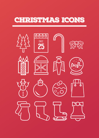 digitally generated: Digitally generated Christmas icons on red vector Illustration