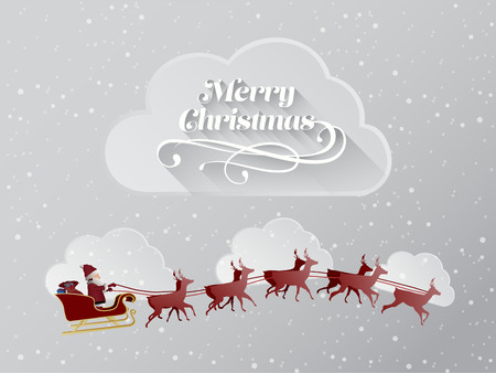 papa noel en trineo: Generada digitalmente mensaje de saludo de Navidad con el vuelo de santa
