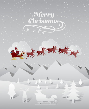 Digitally generated Christmas greeting message with flying santa Vector