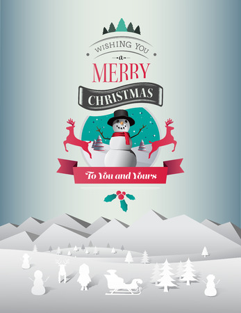 Digitally generated Christmas greeting message with illustrations vector Vector