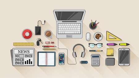 Digitally generated Desk with computer and other accessories vector