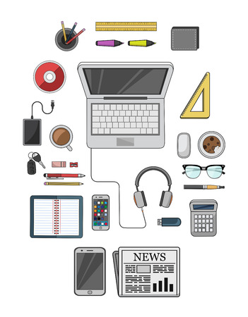 cd rom: Digitally generated Desk with computer and other accessories vector