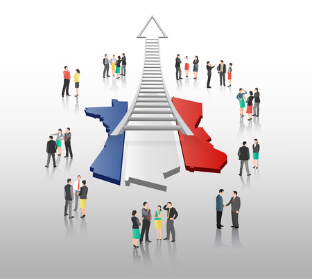 coworker: Digitally generated Business people standing with ladder arrow and french flag