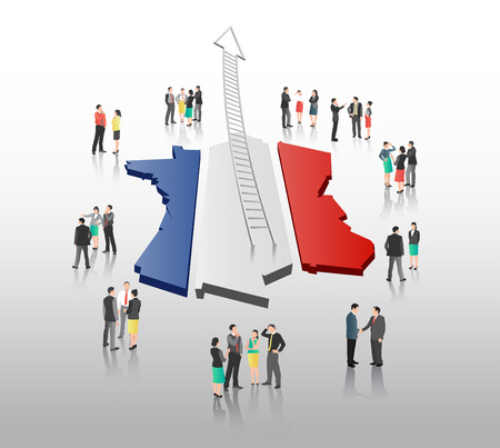 french flag: Digitally generated Business people standing with ladder arrow and french flag