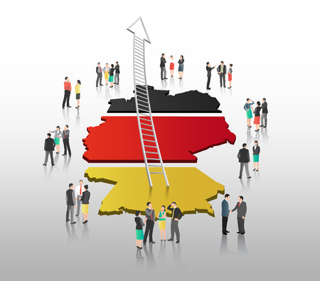 german flag: Digitally generated Business people standing with ladder arrow and german flag Illustration