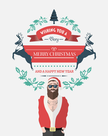 saint nick: Digitally generated Hipster santa with christmas message