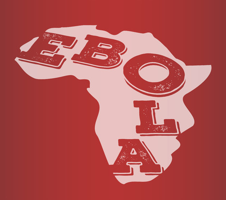 pandemic: Digitally generated Ebola text in africa outline vector Illustration