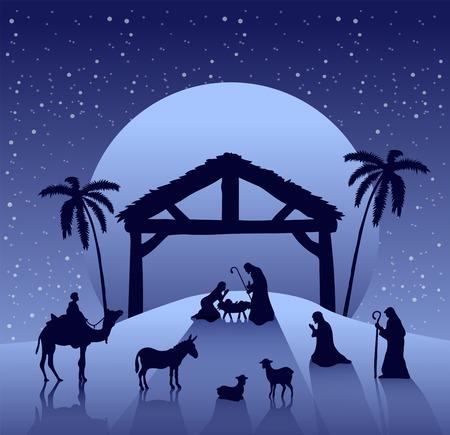 デジタル星空の下でキリスト降誕シーン ベクトルを生成  イラスト・ベクター素材