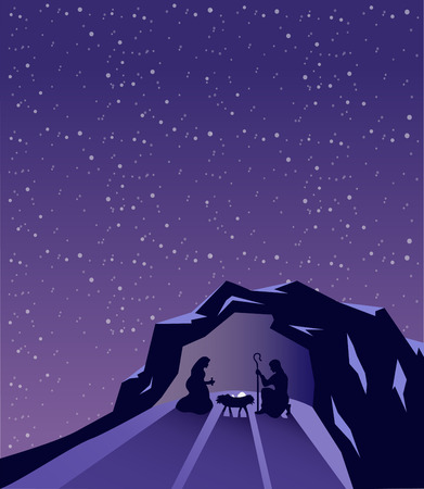 tableau: Digitally generated Nativity scene vector under starry sky