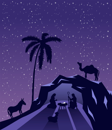 tableau: Digitally generated Nativity scene vector under starry sky