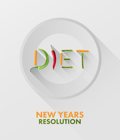 new years resolution: Digitally generated Diet spelled out with vegetables vector