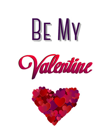 Digitally generated Be my valentine vector with heart Illustration