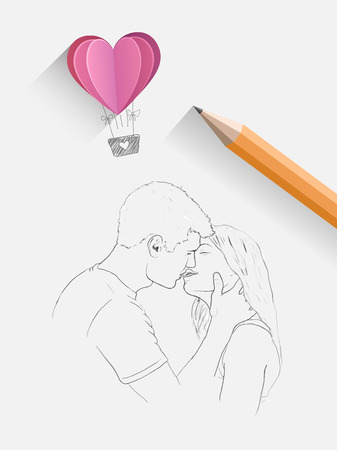 hot couple: Digitally generated Sketch of kissing couple with pencil Illustration