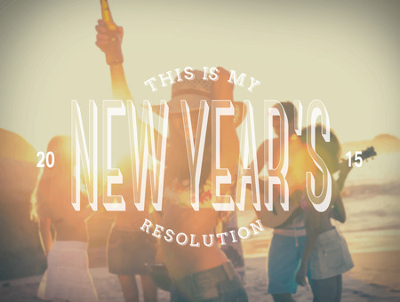 new years resolution: Digitally generated New years resolution message against beach party