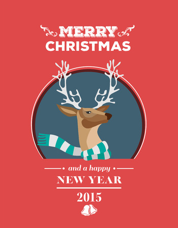 digitally generated: Digitally generated Festive reindeer with message vector Illustration
