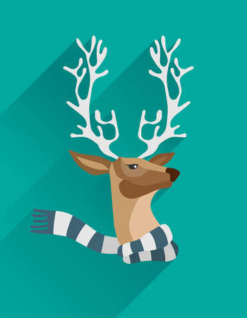 digitally generated: Digitally generated Festive reindeer with scarf vector Illustration
