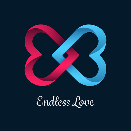 linking: Digitally generated Endless love vector with linking hearts