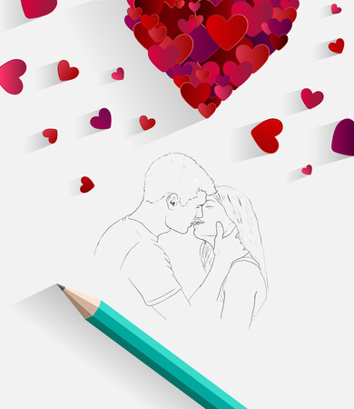 Digitally generated Sketch of kissing couple with pencil 일러스트