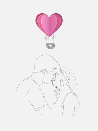 hot couple: Digitally generated Sketch of kissing couple with heart hot air balloon
