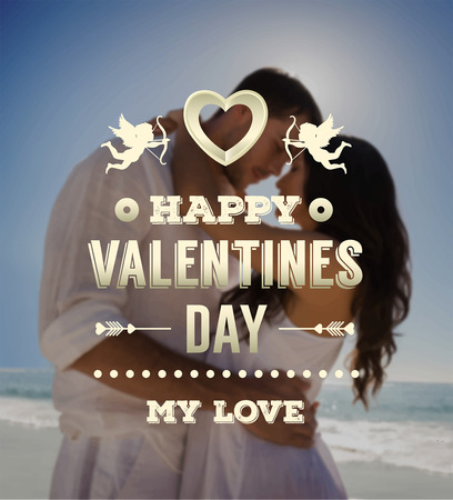 happy couple beach: Digitally generated Valentines day vector