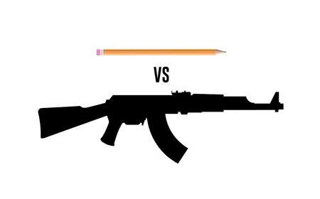 charlie: Digitally generated Pencil vs gun vector