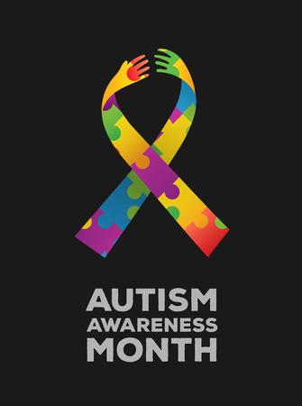 Digitaal gegenereerde voorlichting van het Autisme ontwerp vector Stock Illustratie
