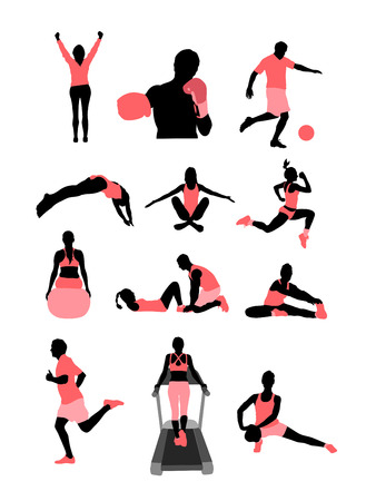sit up: Digitally generated Health and fitness characters vector Illustration