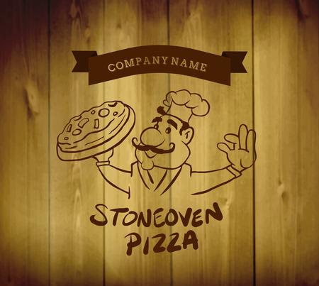 advertisement: Digital erzeugte Pizza Anzeige Vektor mit Charakter