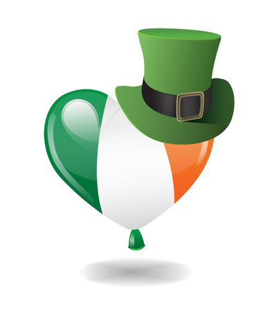st  patty: Digitally generated Irish flag balloon wearing a top hat