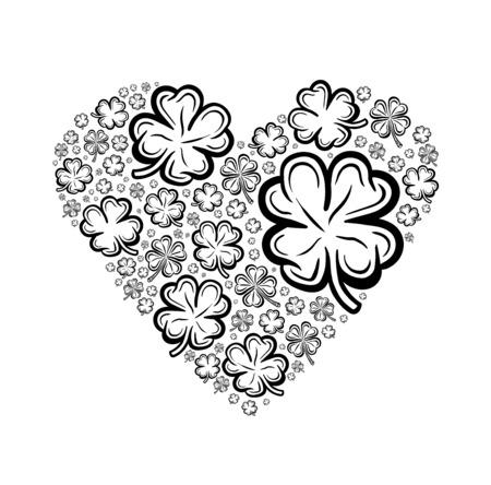 st  patty: Digitally generated Heart made of shamrocks vector Illustration